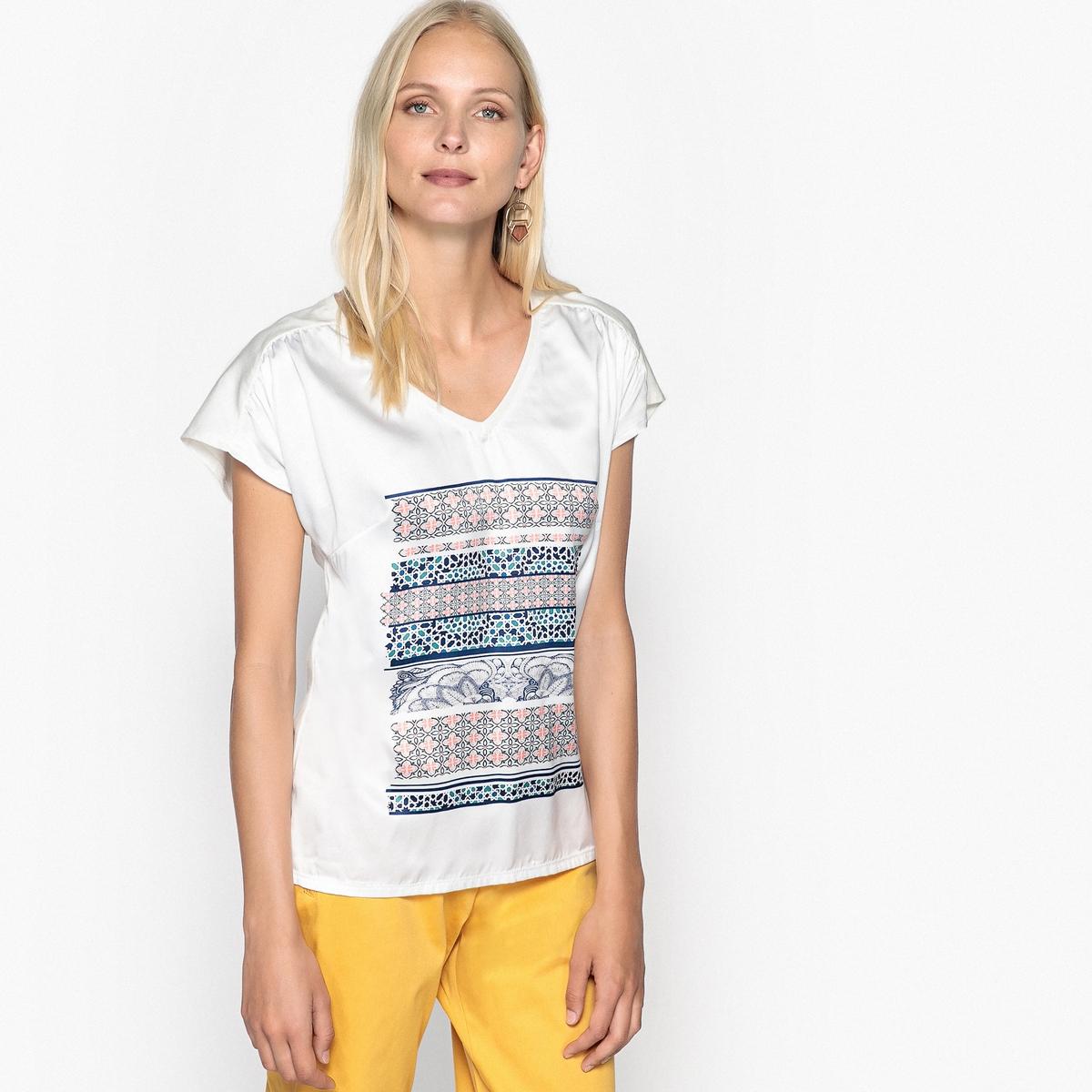 T-shirt bimatéria estampada, mangas curtas