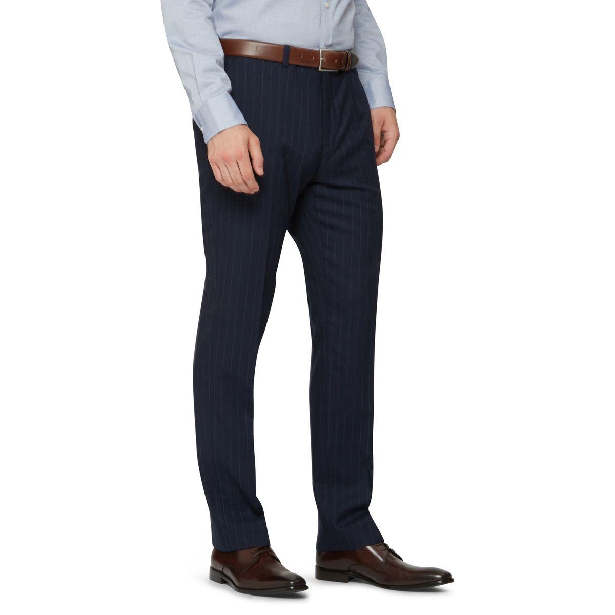 Pantalon rayé coupe ajustée