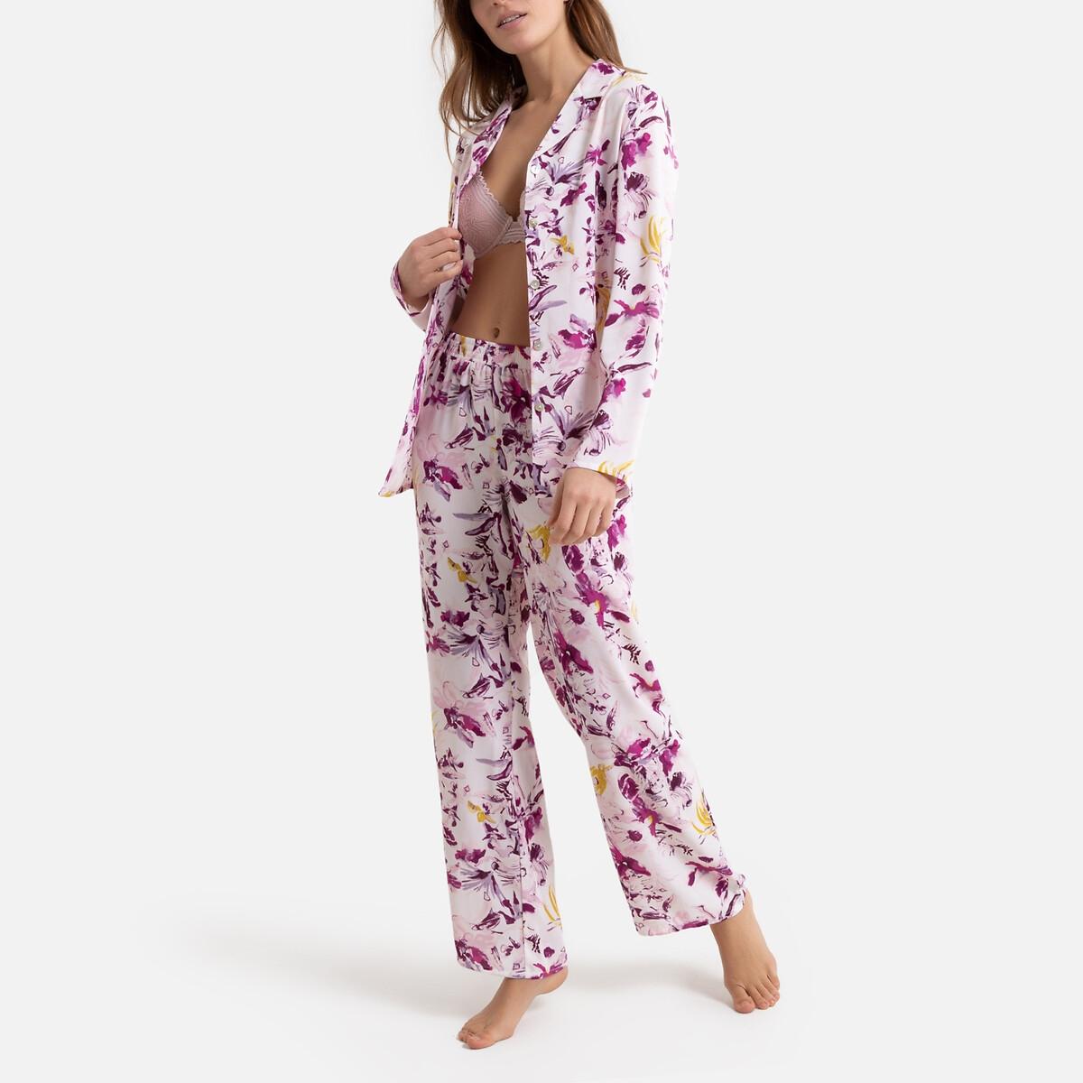 Pijama con estampado de flores de crepé