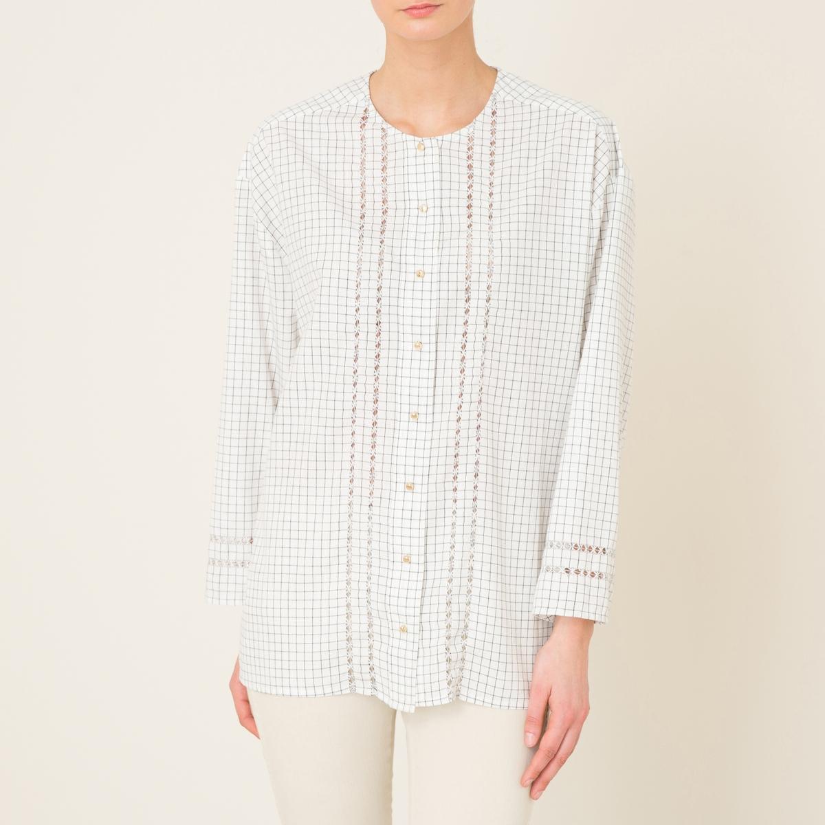 Рубашка в клеткуСостав и описание   Материал : 100% хлопок   Марка : LAURENCE BRAS<br><br>Цвет: белый/ черный<br>Размер: M