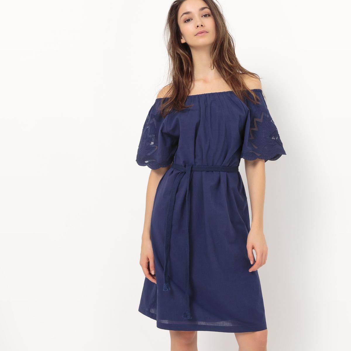 Платье до колен с воланами