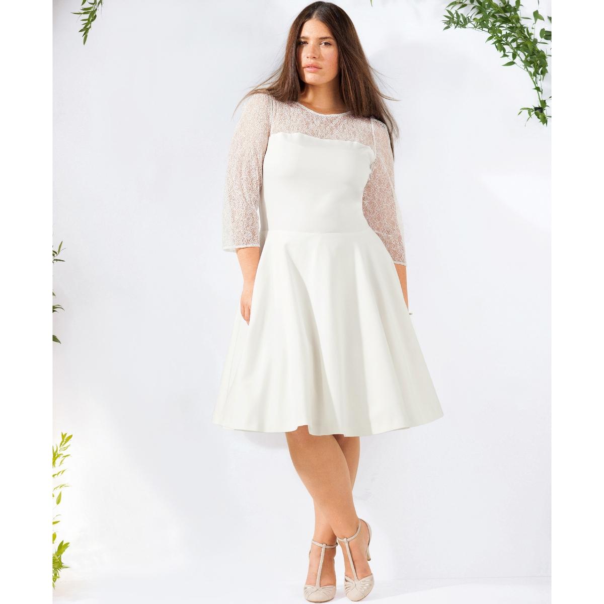 Короткое свадебное платьеСвадебное платье. Закругленный вырез. Рукава 3/4. Кружевные вставки на декольте спереди и сзади, а также на рукавах. 48% хлопка, 48% полиэстера, 4% эластана. Длина 98 см.<br><br>Цвет: слоновая кость<br>Размер: 54 (FR) - 60 (RUS)