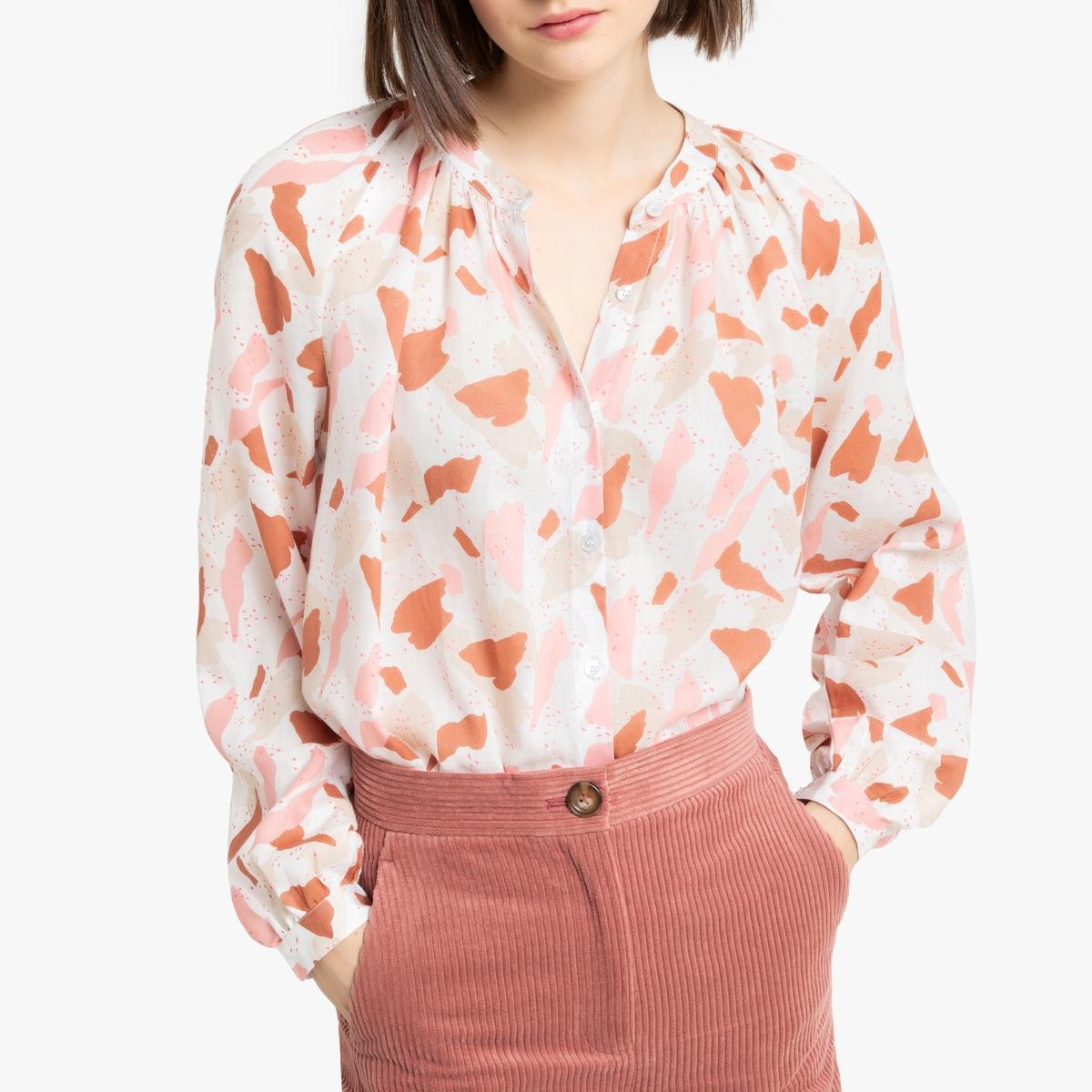 Блузка La Redoute С круглым вырезом и длинными рукавами 38 (FR) - 44 (RUS) розовый ольга александровна скоробогатова белая мгла