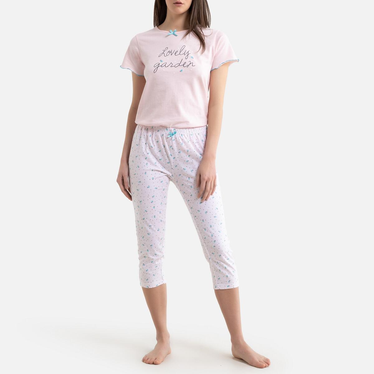 Пижама LaRedoute Со штанишками-капри хлопковая The L розовый
