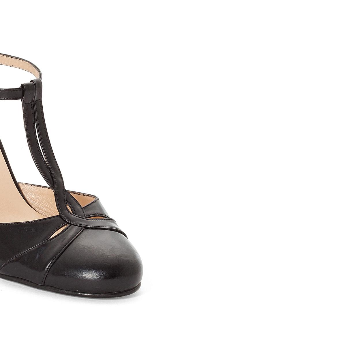 Туфли кожаные 11076Верх : Кожа   Подкладка : Кожа   Стелька : Кожа   Подошва : эластомер   Высота каблука : 5 см   Форма каблука : тонкий каблук   Мысок : закругленный   Застежка : Пряжка<br><br>Цвет: черный<br>Размер: 36.37
