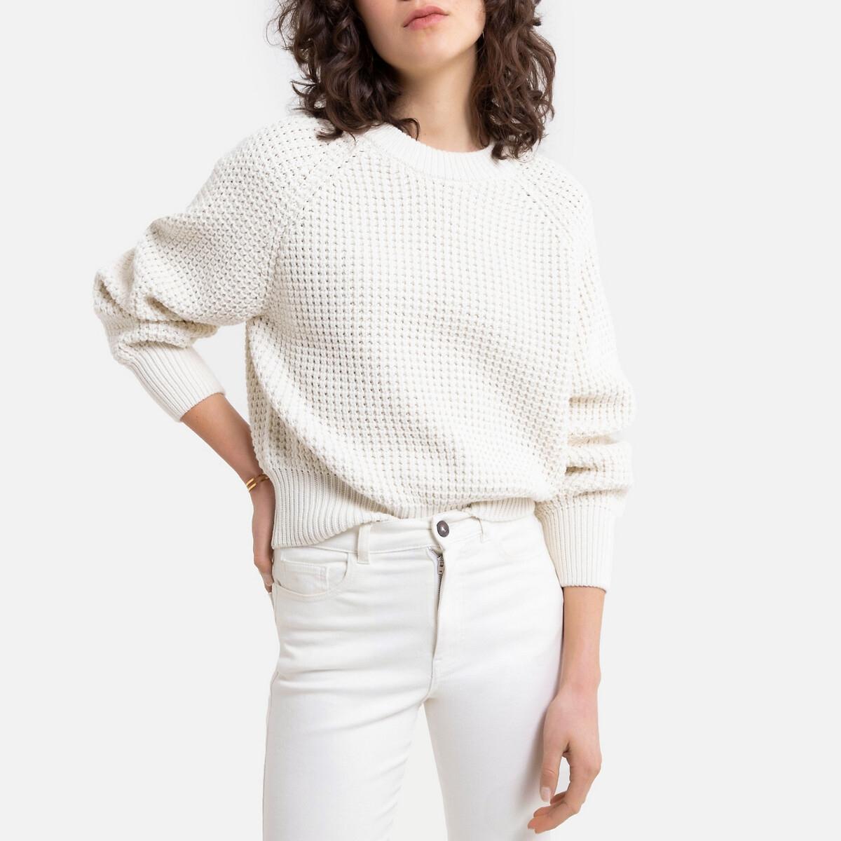 Пуловер La Redoute Ажурный из плотного трикотажа L белый