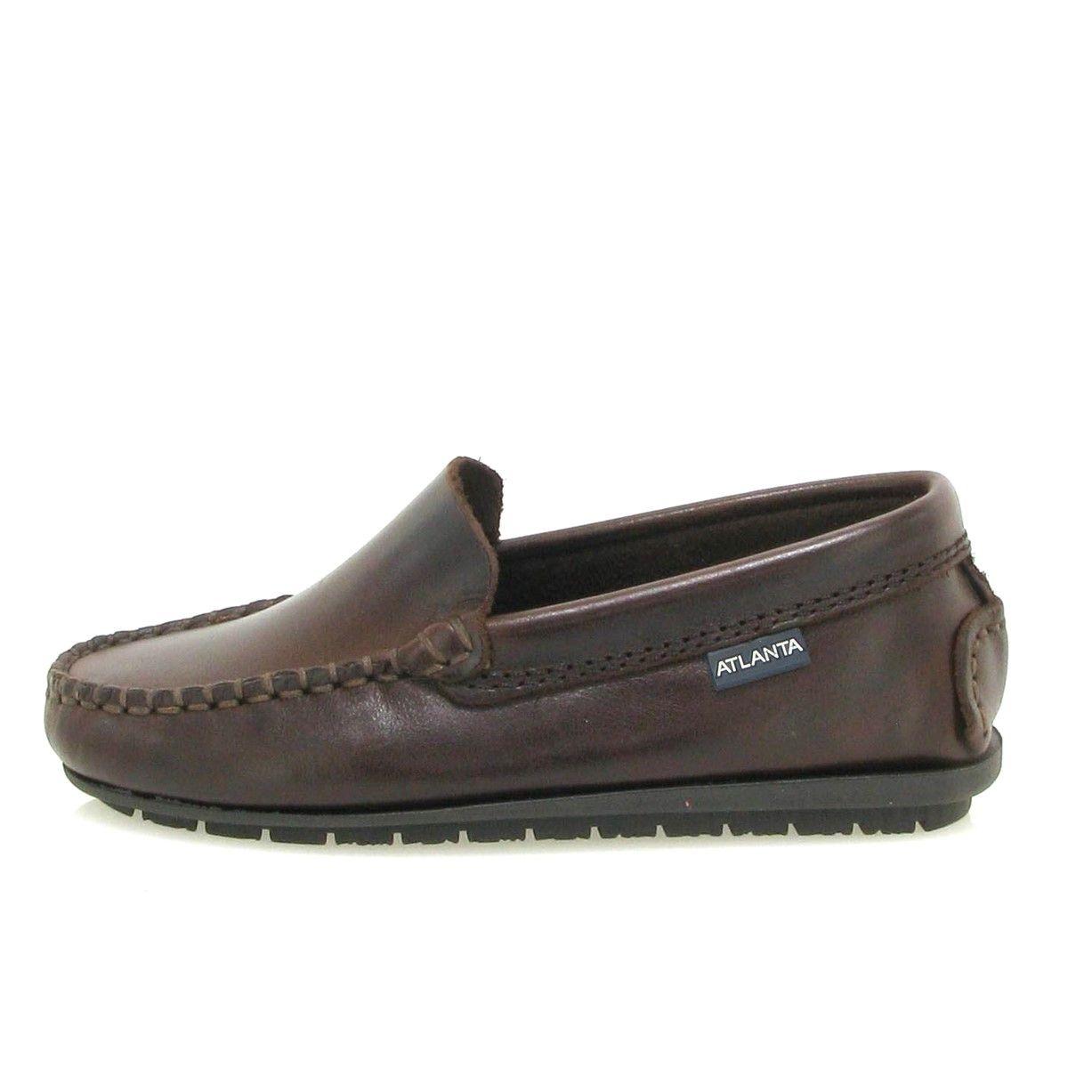 Chaussures mocassins simples en cuir rustique