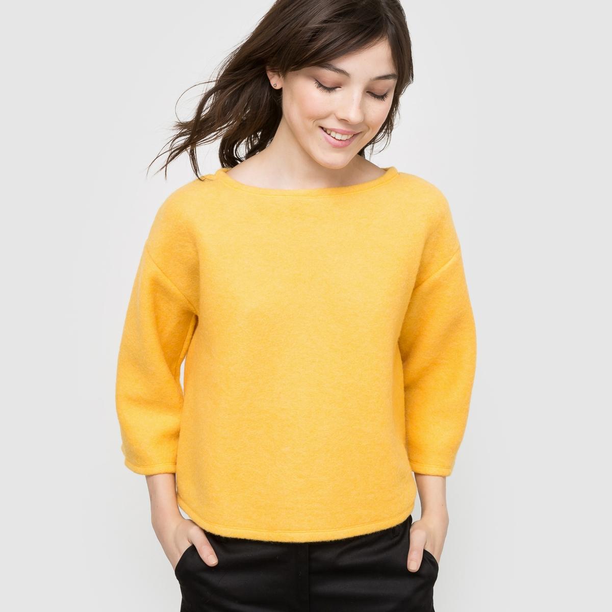 Пуловер укороченный с рукавами 3/4Состав и описаниеМатериал: 68% акрила, 17% полиамида, 15% полиэстера.Длина: 56 см.Марка: R edition.УходМашинная стирка при 30°C с вещами подобных цветов.Не гладить.<br><br>Цвет: желтый шафран,черный