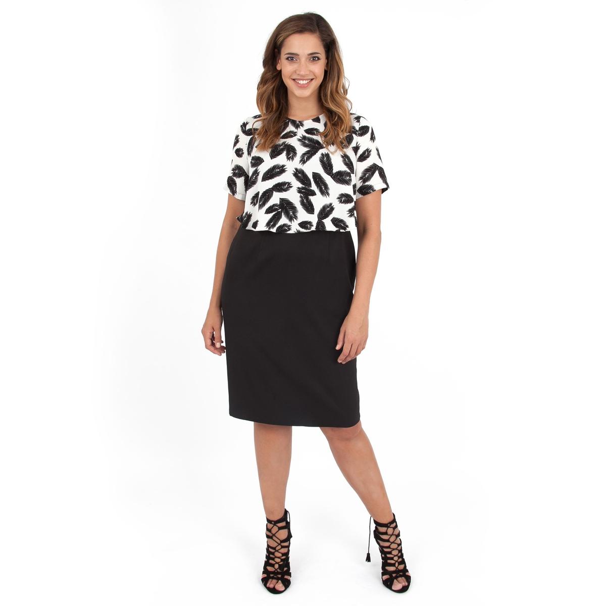 ПлатьеПлатье с короткими рукавами - KOKO BY KOKO. Длина ок.104 см. 100% полиэстера<br><br>Цвет: набивной рисунок<br>Размер: 54/56 (FR) - 60/62 (RUS)