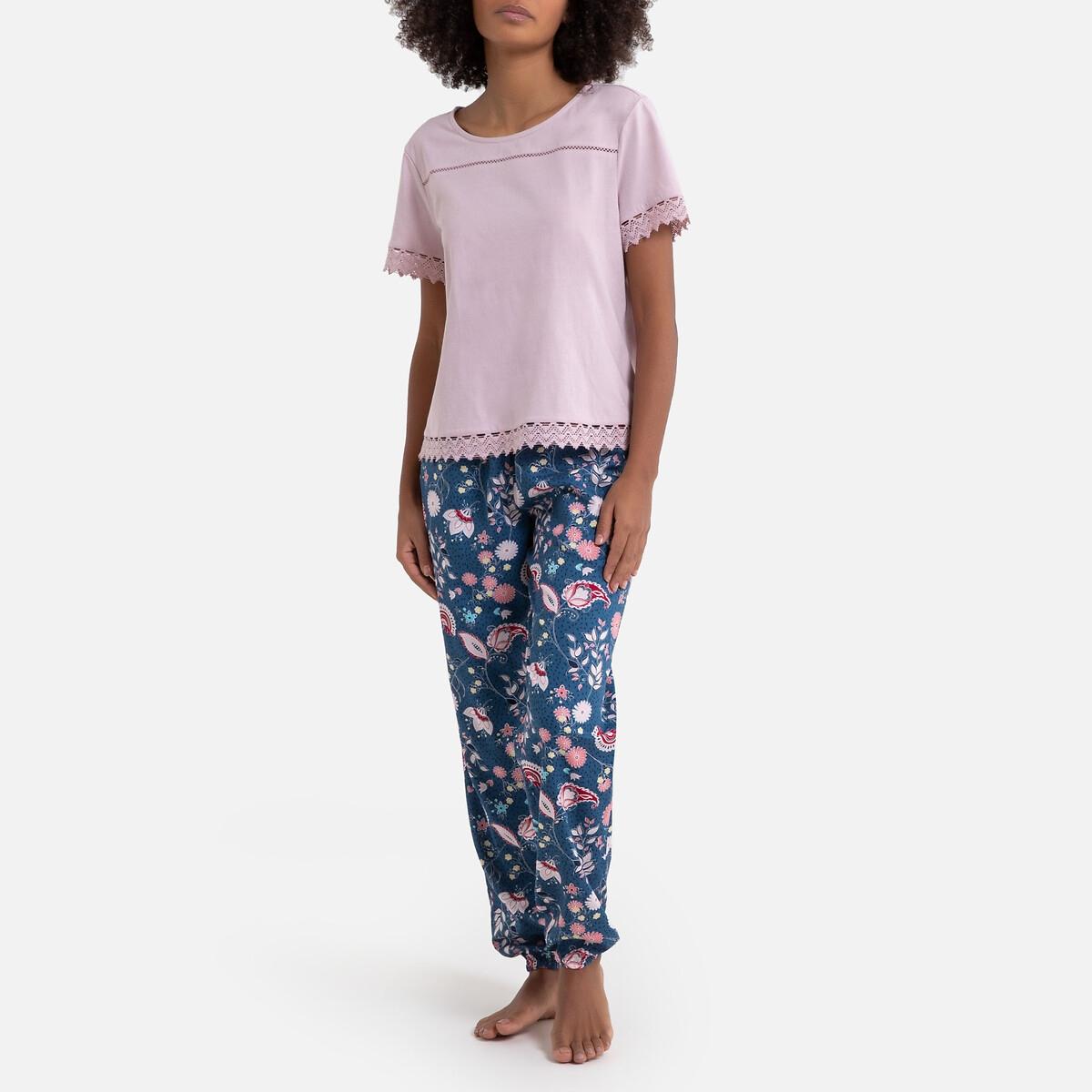 Pijama de manga corta con pantalón estampado