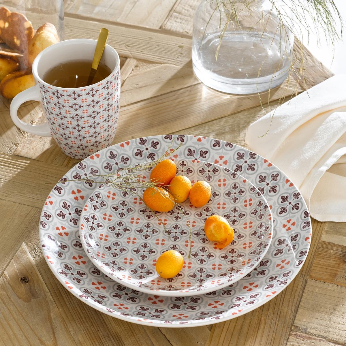 Комплект из 4 мелких тарелок из фаянса, диаметр 26,5 см4 тарелки плоские с рисунком под цементную плитку . Завтрак, обед или ужин, La Redoute Int?rieurs Вас приглашает к столу. Характеристики 4 плоских тарелок с рисунком под цементную плитку  :- Из фаянса, разноцветные.- Диаметр 26,5 см  .- Можно использовать в посудомоечных машинах и микроволновых печах.Десертные тарелки и чашки того же комплекта продаются на сайте laredoute  .ru<br><br>Цвет: набивной рисунок