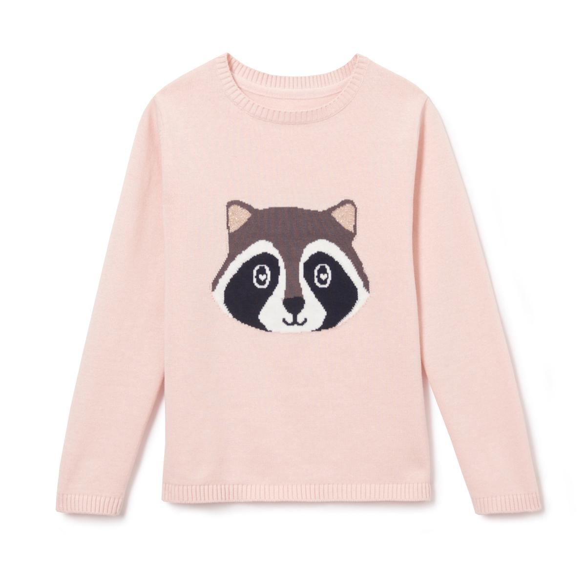 Пуловер с рисунком енот 3-12 лет