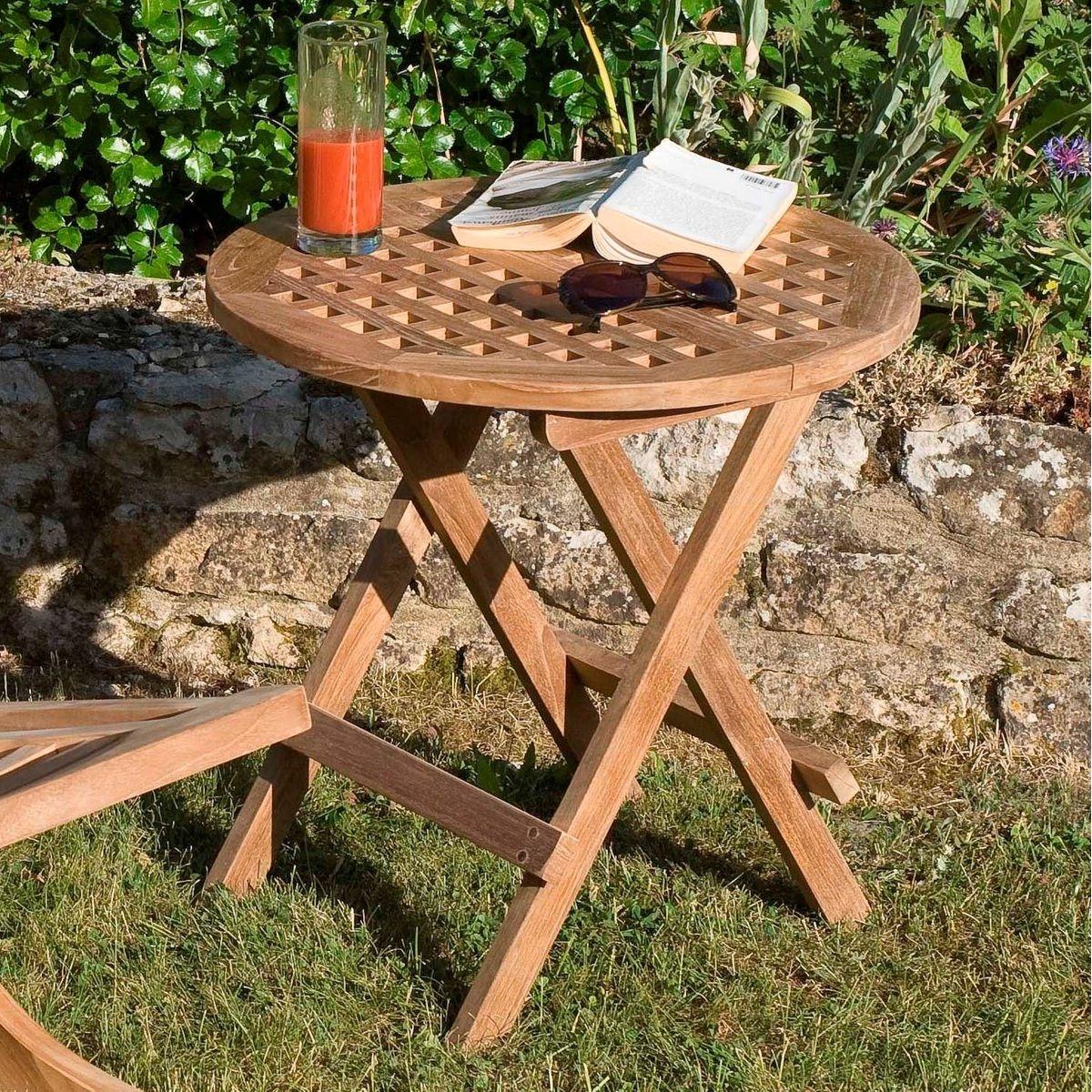 Table basse d'appoint de jardin ronde pliante en bois de teck 50x50cm SUMMER
