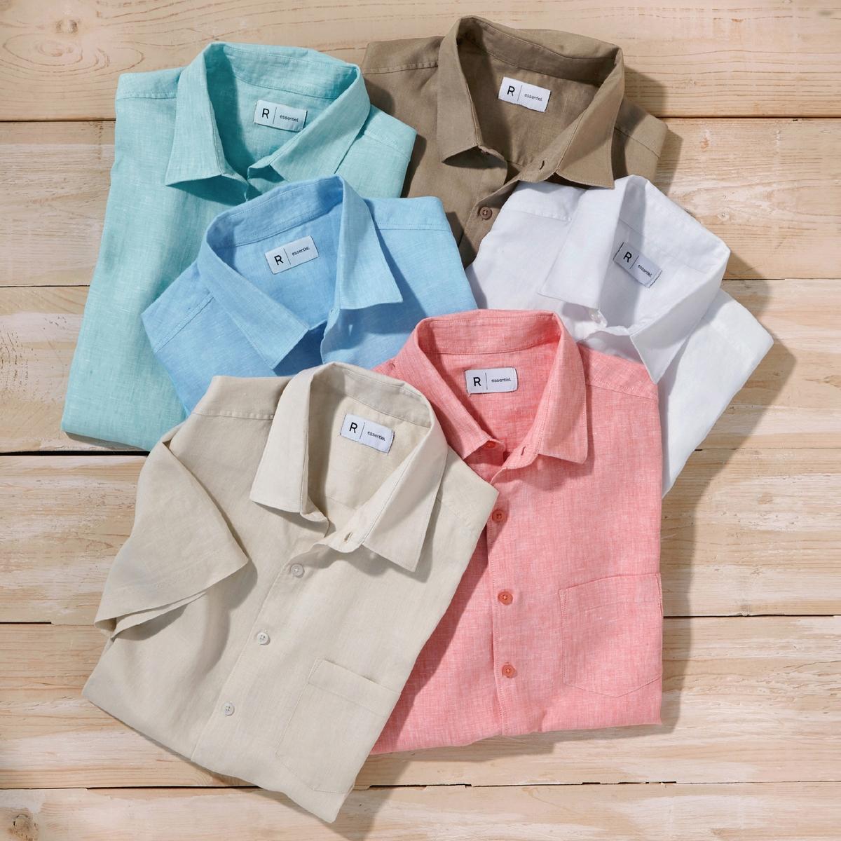 Рубашка прямого покроя 100% ленРубашка, 100% лен. Стандартный (прямой) покрой. Воротник со свободными уголками. Короткие рукава. Длина 77 см.<br><br>Цвет: белый,голубой меланж,песочный,серо-коричневый,темно-синий,черный<br>Размер: 35/36.43/44.35/36.37/38.39/40.41/42.43/44.47/48.35/36.37/38.47/48.37/38.41/42.35/36.37/38.39/40.41/42
