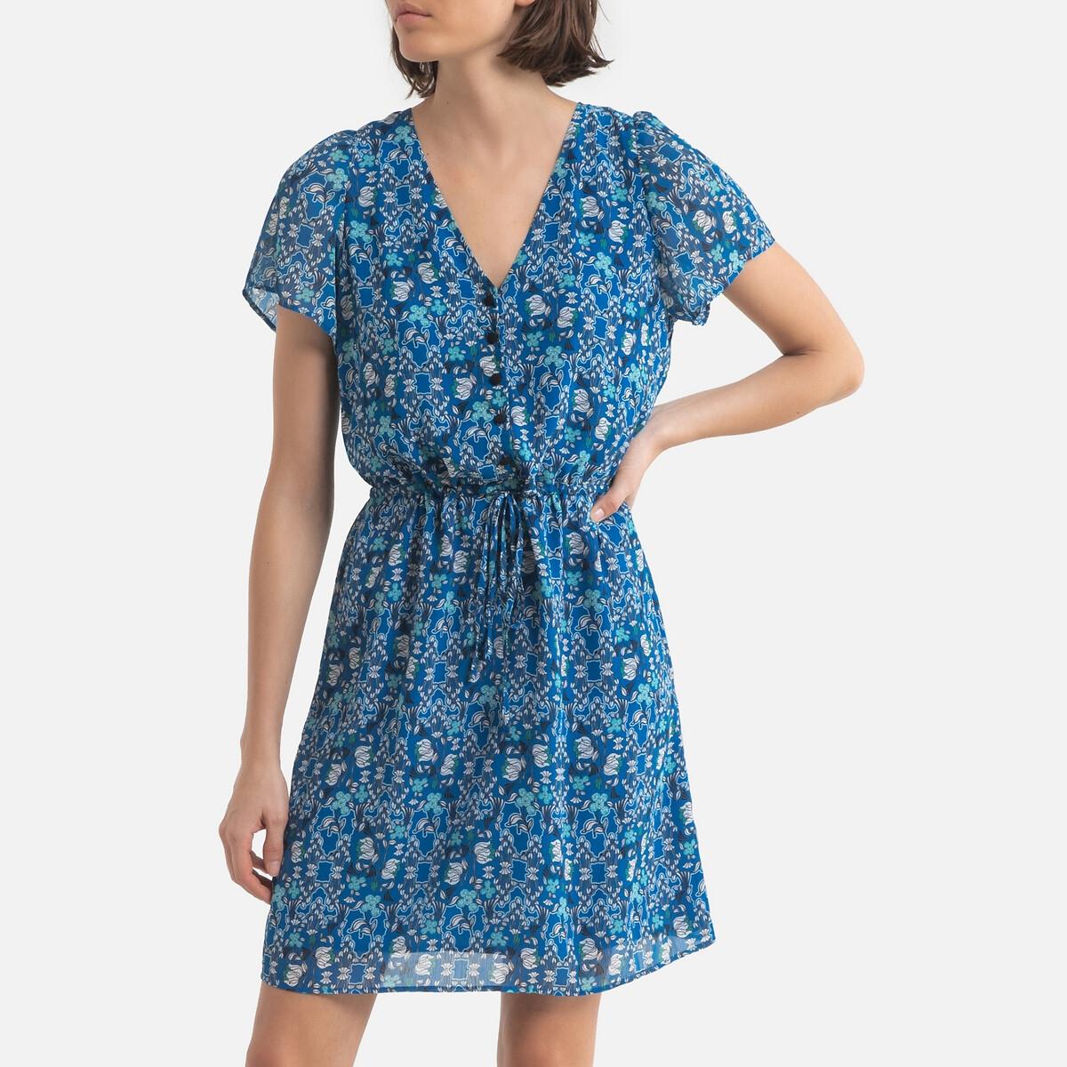 Платье LaRedoute Прямое с цветочным принтом 38 (FR) - 44 (RUS) синий