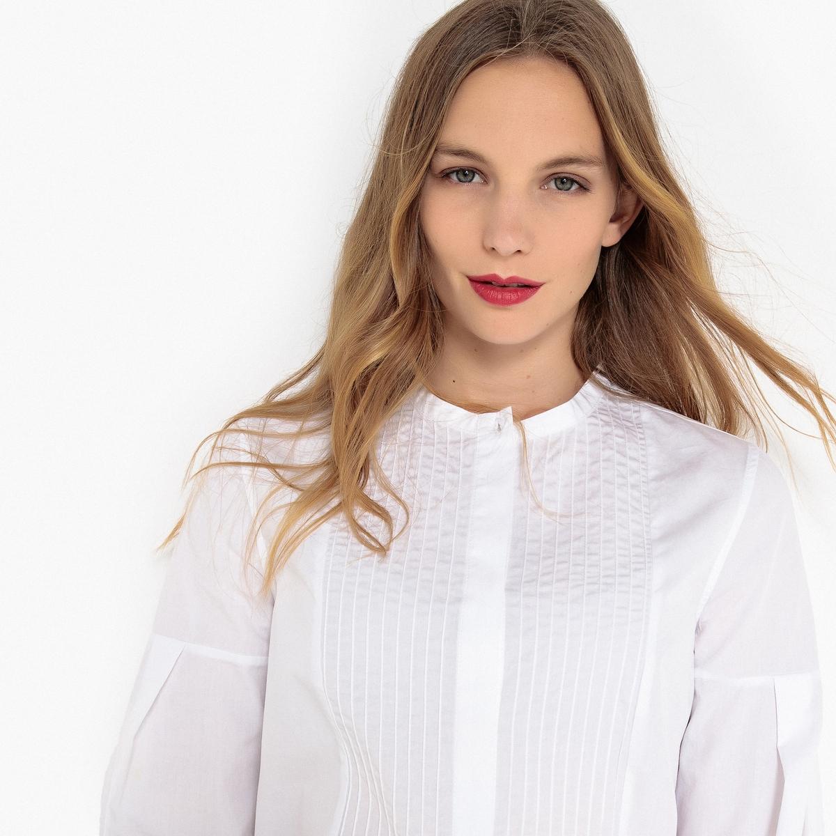 Camisa con cuello mao y plastrón plisado