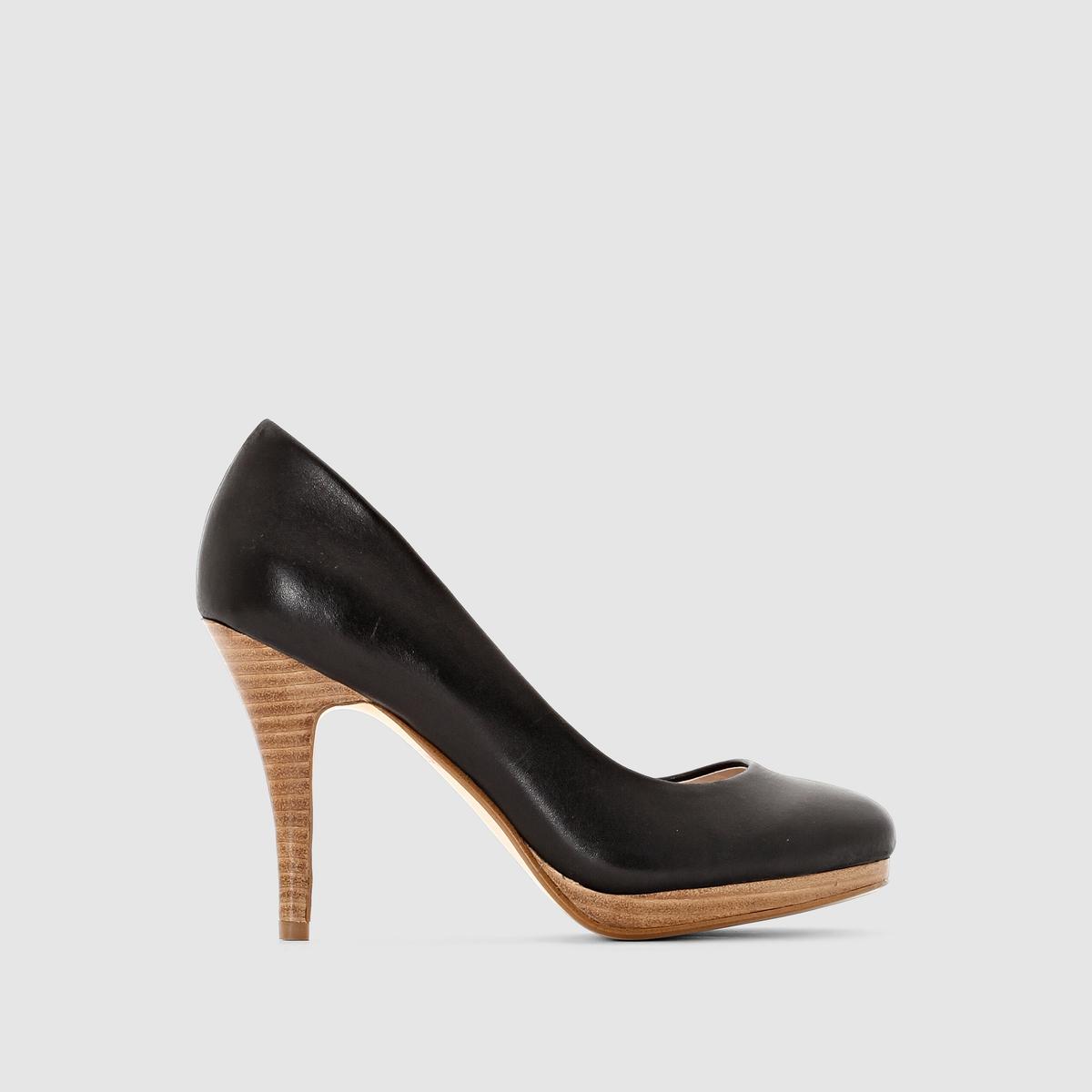 Туфли кожаныеВерх : яловичная кожа         Подкладка : кожа     Стелька : кожа     Подошва : из эластомера     Высота каблука : 9,5 см платформа 1 см     Застежка : без застежки     Преимущества : качественные и комфортные туфли. Туфли со слегка закругленным носком, плотно прилегающие, но остающиеся очень женственными.<br><br>Цвет: черный<br>Размер: 39