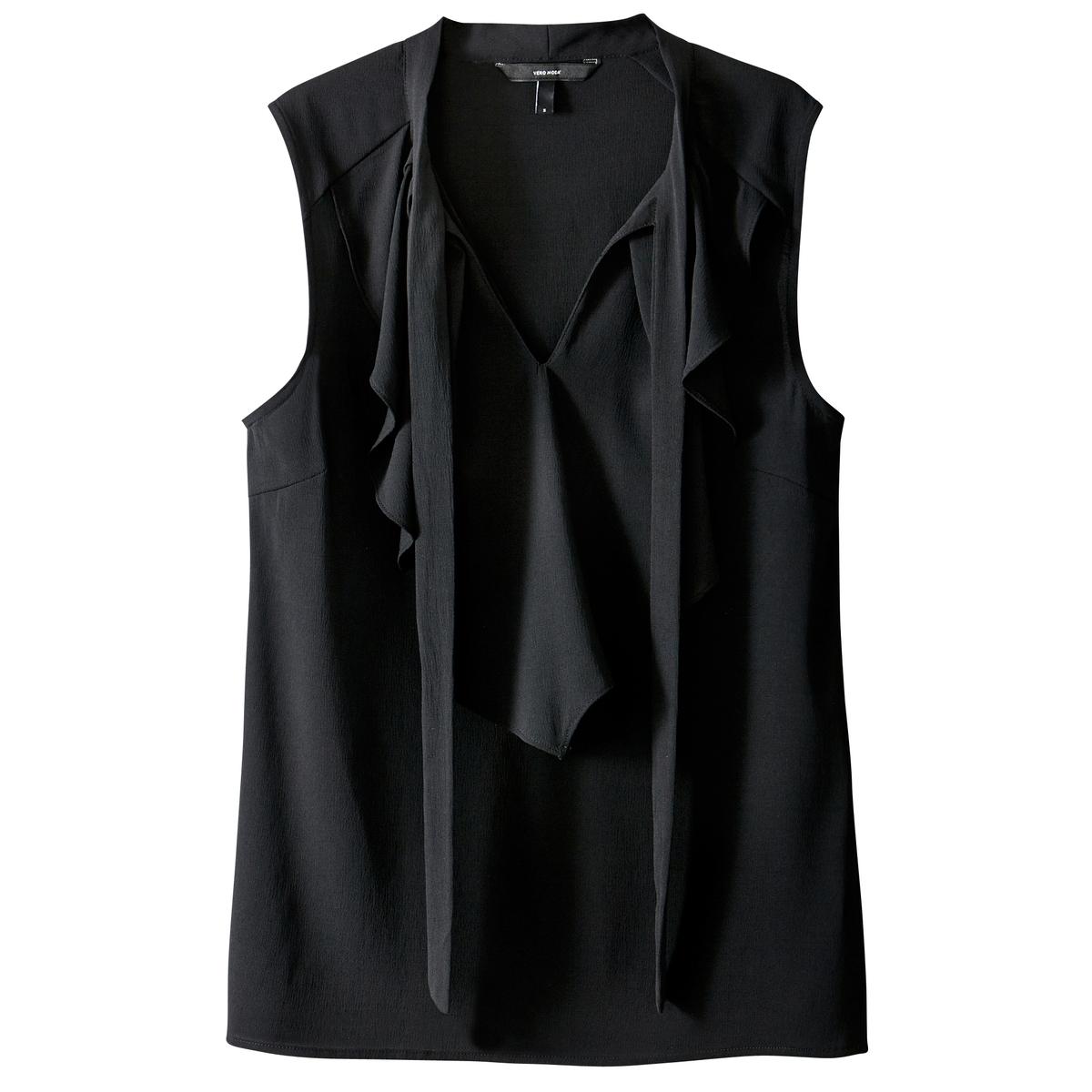Блузка однотонная с галстуком-бантом без рукавовДетали •  Без рукавов •  Галстук-бантСостав и уход •  100% полиэстер •  Следуйте советам по уходу, указанным на этикетке<br><br>Цвет: синий индиго,черный<br>Размер: XS.S