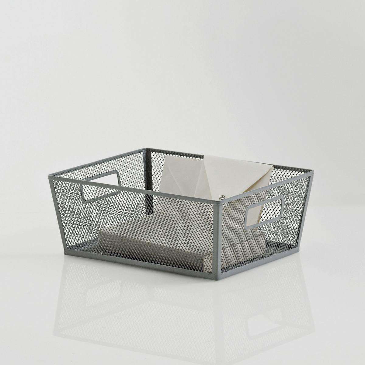 Корзина для хранения из ажурного металла, La Redoute Intеrieurs.Каркас из ажурного металла.2 рукоятки.Размер корзины для хранения из ажурного металла, La Redoute Intеrieurs:Д.36,2 x Г.26,4 x В.14 см.<br><br>Цвет: серый