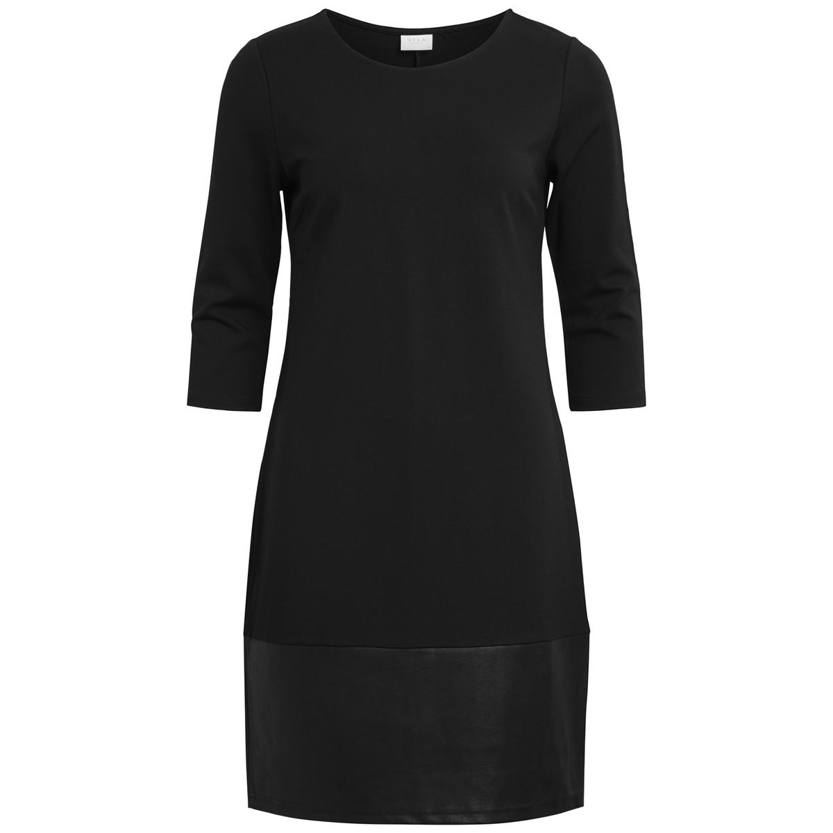 Платье короткое с рукавами 3/4Детали •  Форма : прямая  •  Короткое  •  Рукава 3/4    •  Круглый вырезСостав и уход •  70% вискозы, 3% эластана, 27% полиамида •  Следуйте советам по уходу, указанным на этикетке<br><br>Цвет: черный