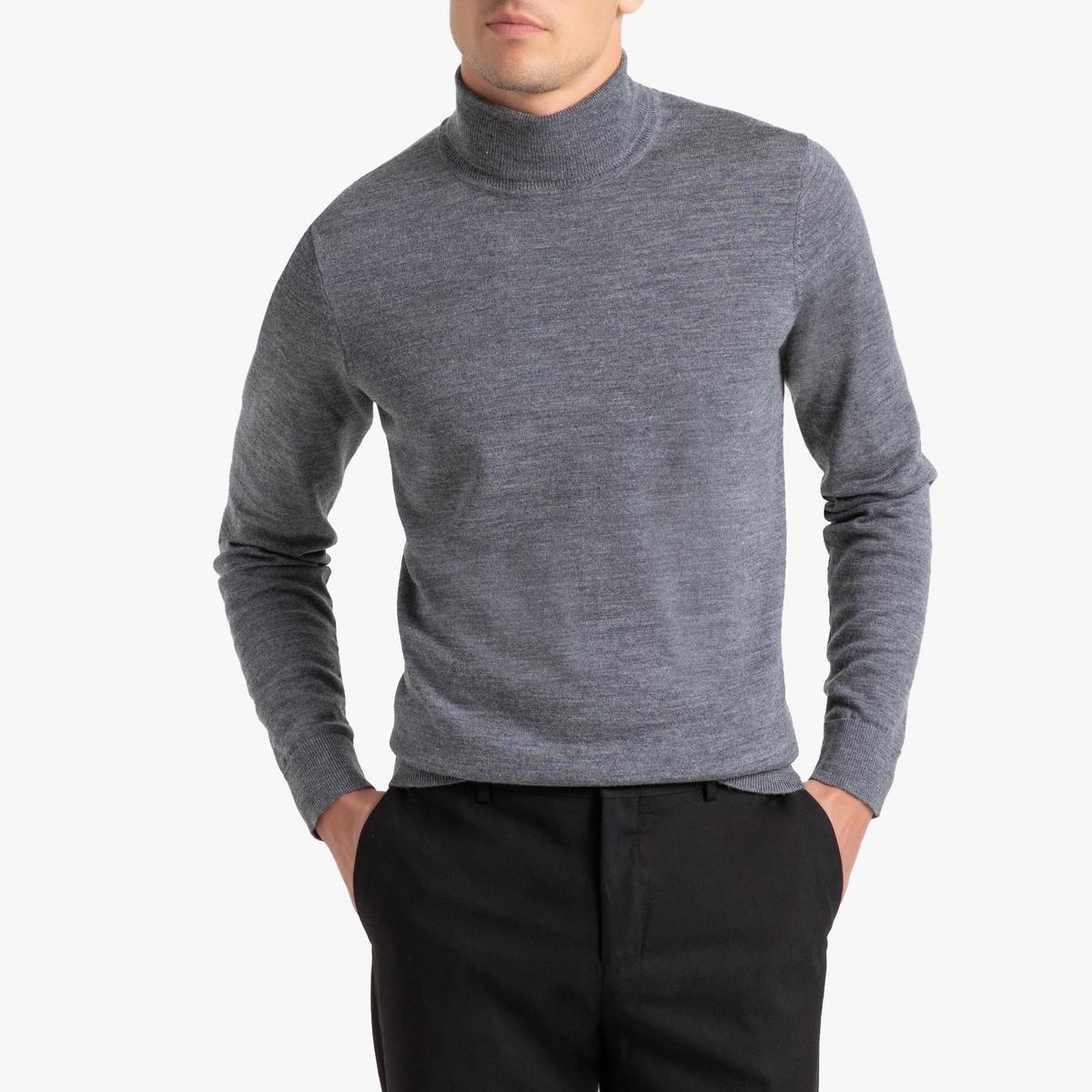 Пуловер La Redoute С отворачивающимся воротником из шерсти мериноса Pascal 3XL серый jd коллекция серый цвет серый 3xl