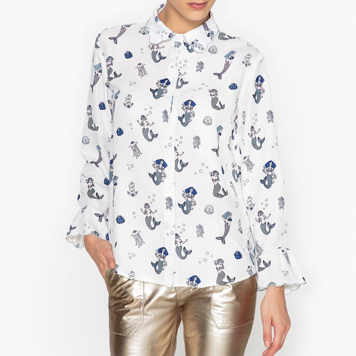 Рубашка с принтом и воланами