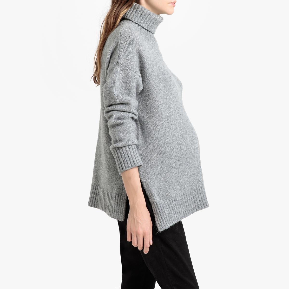 Пуловер La Redoute Для периода беременности с воротником с отворотом из плотного трикотажа S серый платье la redoute из трикотажа для периода беременности s другие