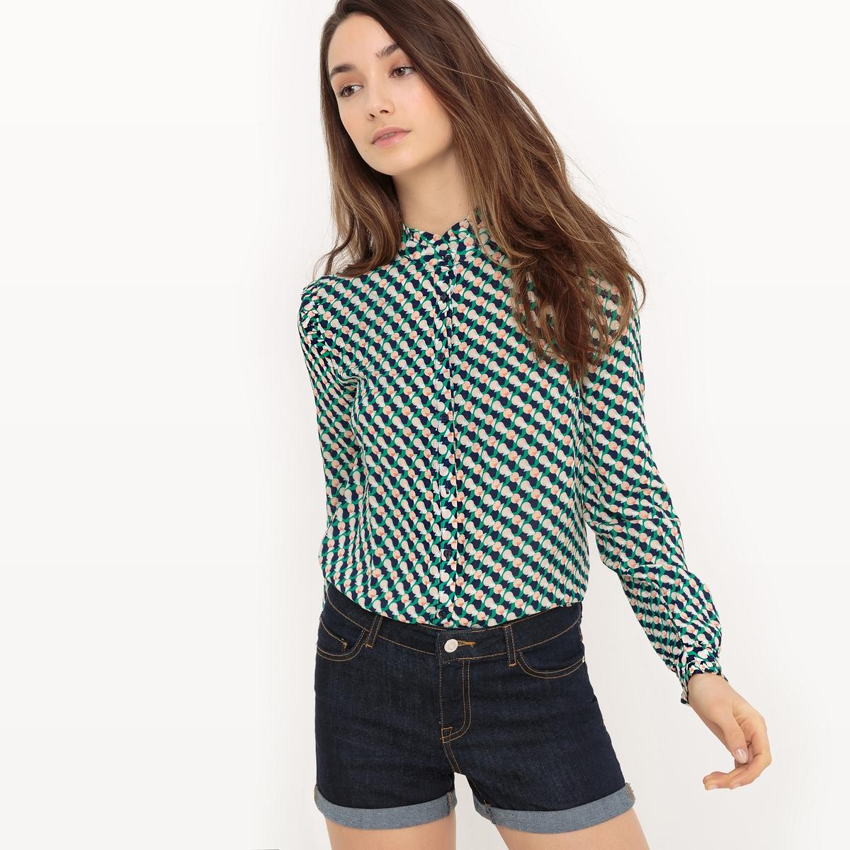 Рубашка с геометрическим рисунком из вискозы