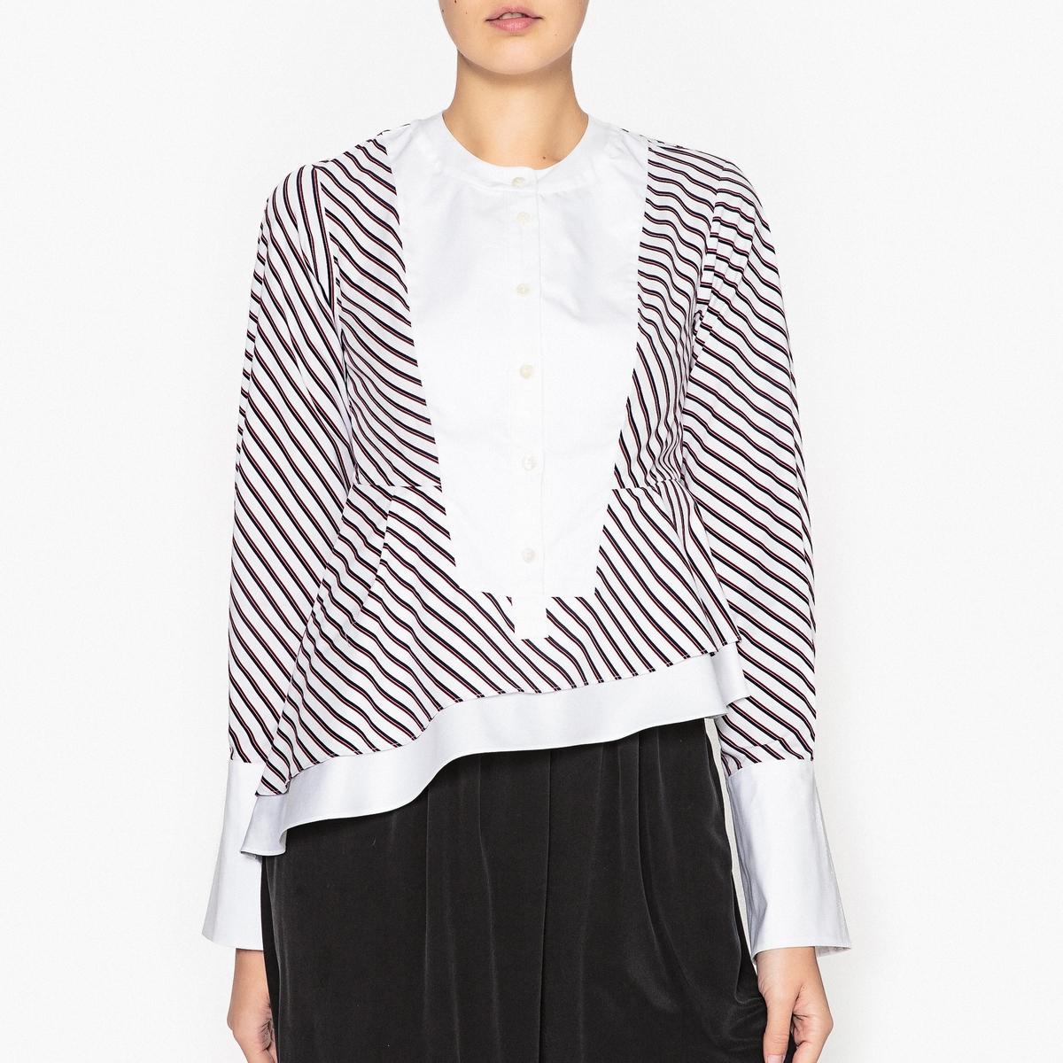 Блузка в полоску с асимметричный воланом