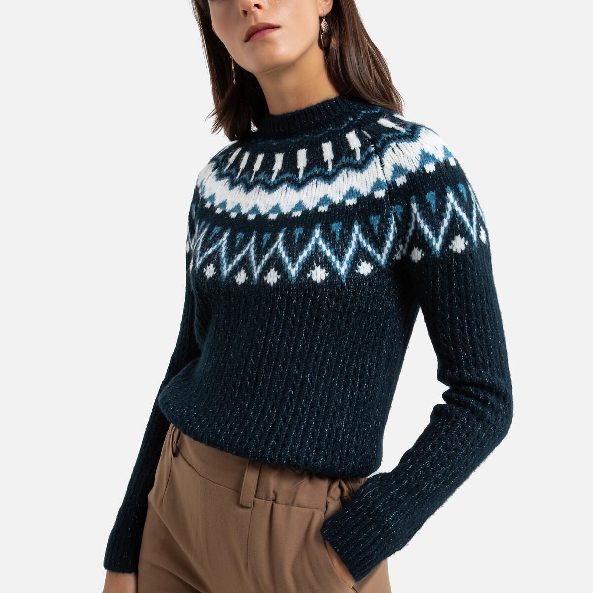 Пуловер LaRedoute С круглым вырезом из жаккардового трикотажа 46/48 (FR) - 52/54 (RUS) синий