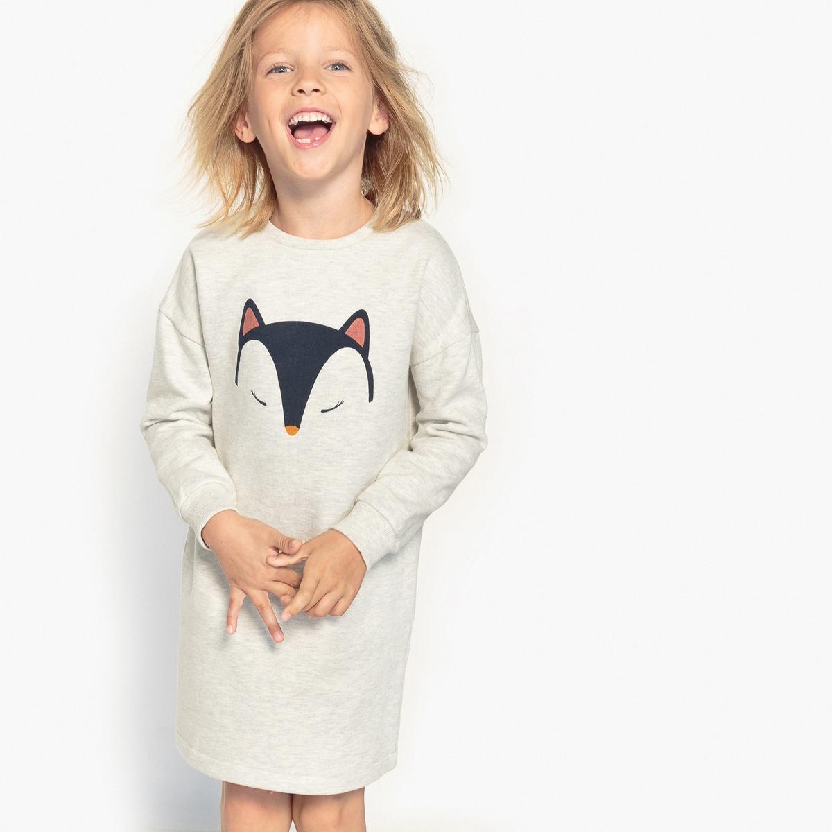 Платье с рисунком из мольтона, 3-12 лет