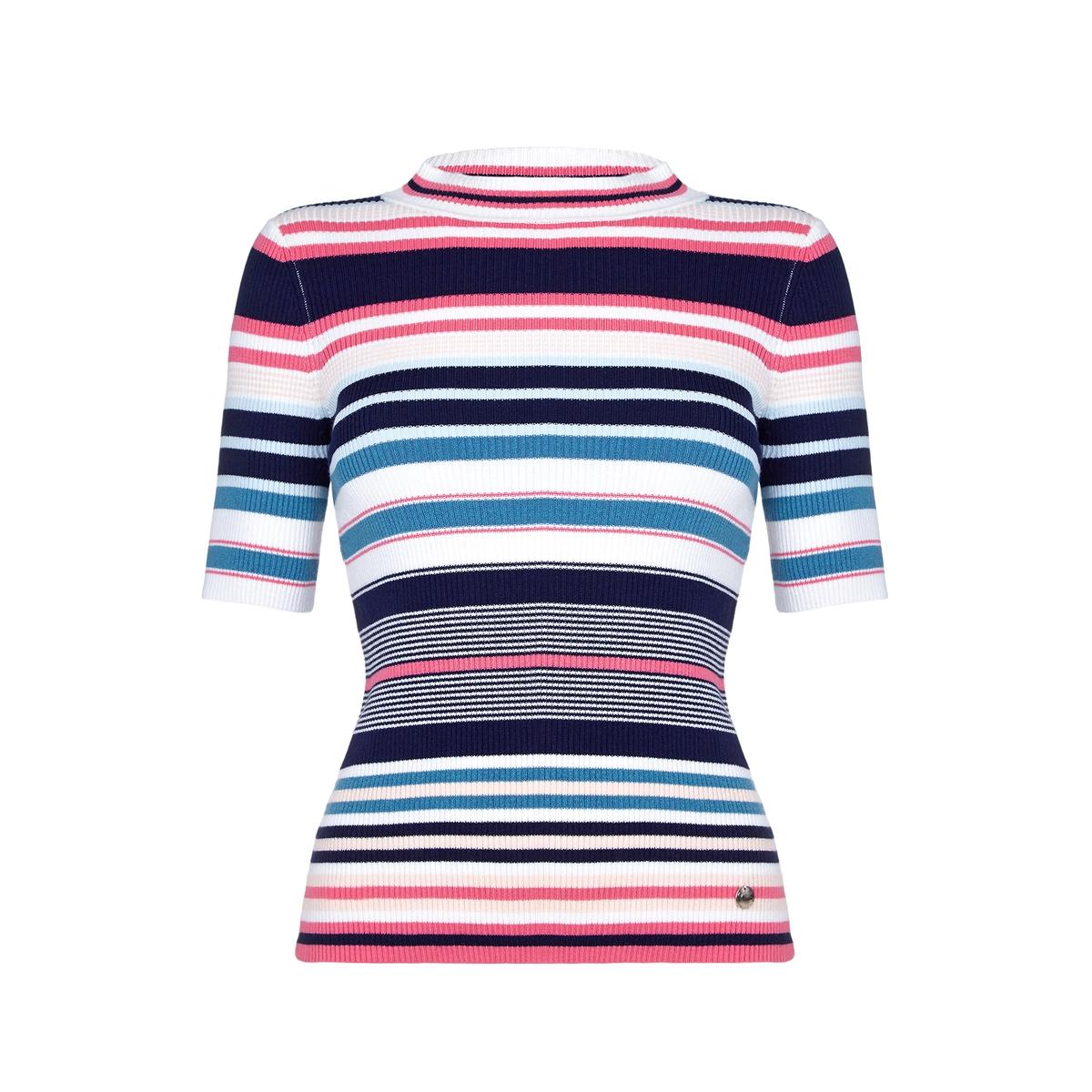 Пуловер в полоску с короткими рукавамиМатериал : 55% акрила, 45% хлопка  Длина рукава : короткие рукава  Форма воротника : высокий воротник  Покрой пуловера : стандартный  Рисунок : в полоску<br><br>Цвет: разноцветный<br>Размер: S