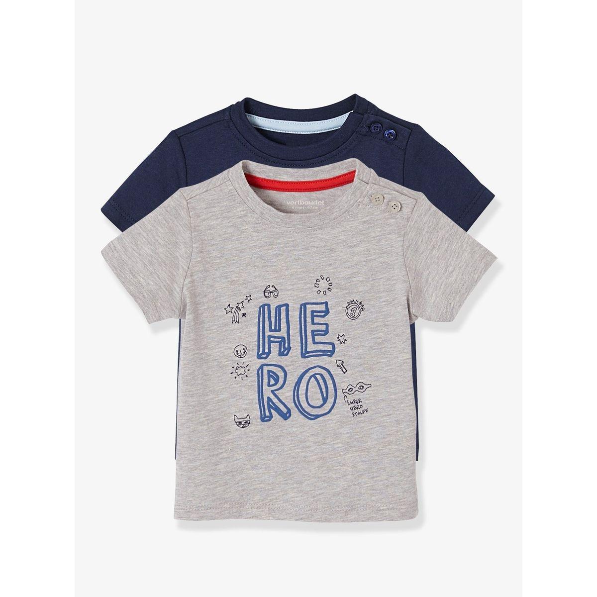 Lot de 2 T-shirts bébé garçon motif HERO