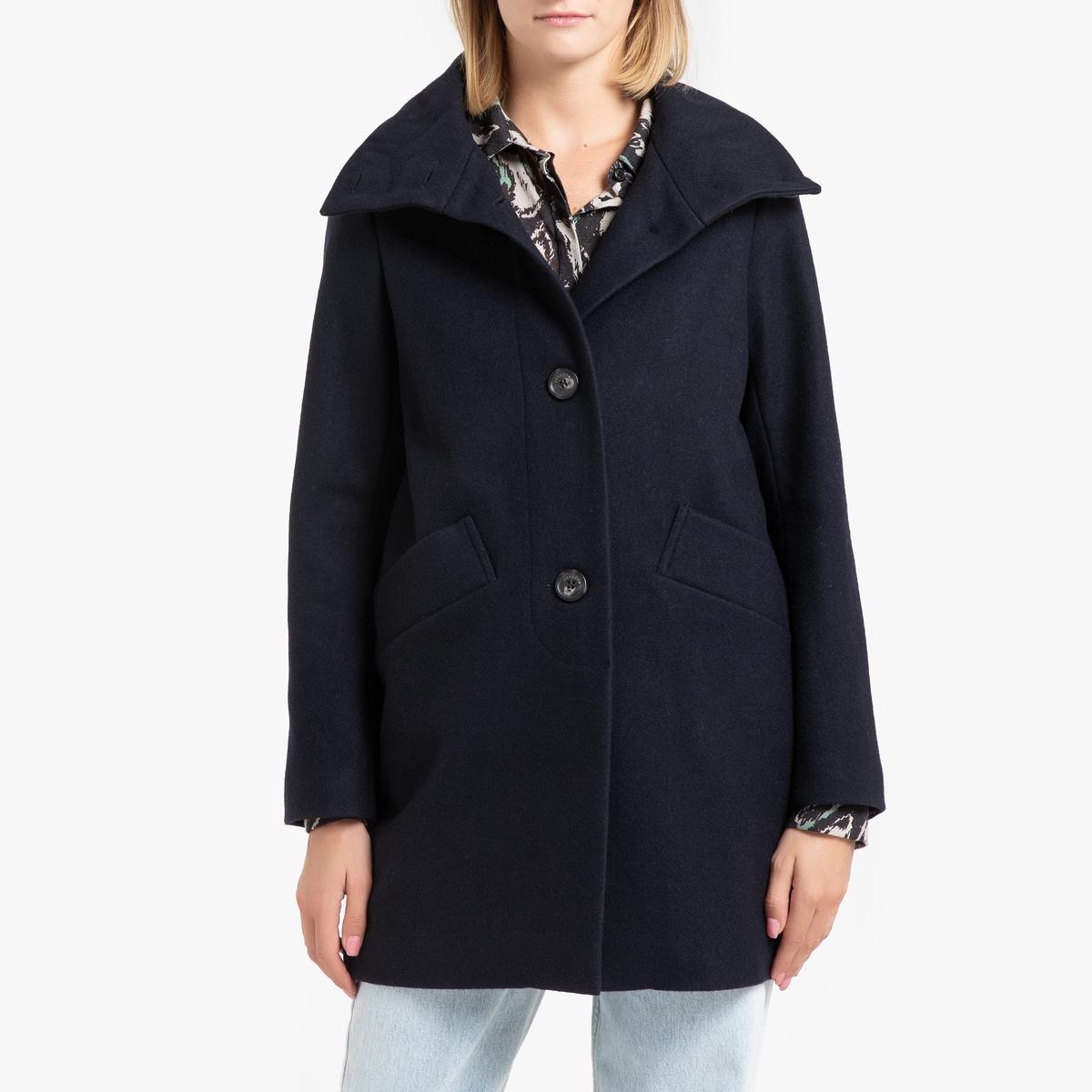 Пальто La Redoute Средней длины с застежкой на пуговицы CHERA S синий цена