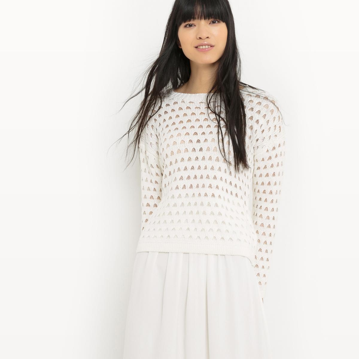 Пуловер хлопковый с круглым вырезом  пуловер с круглым вырезом из хлопка и льна