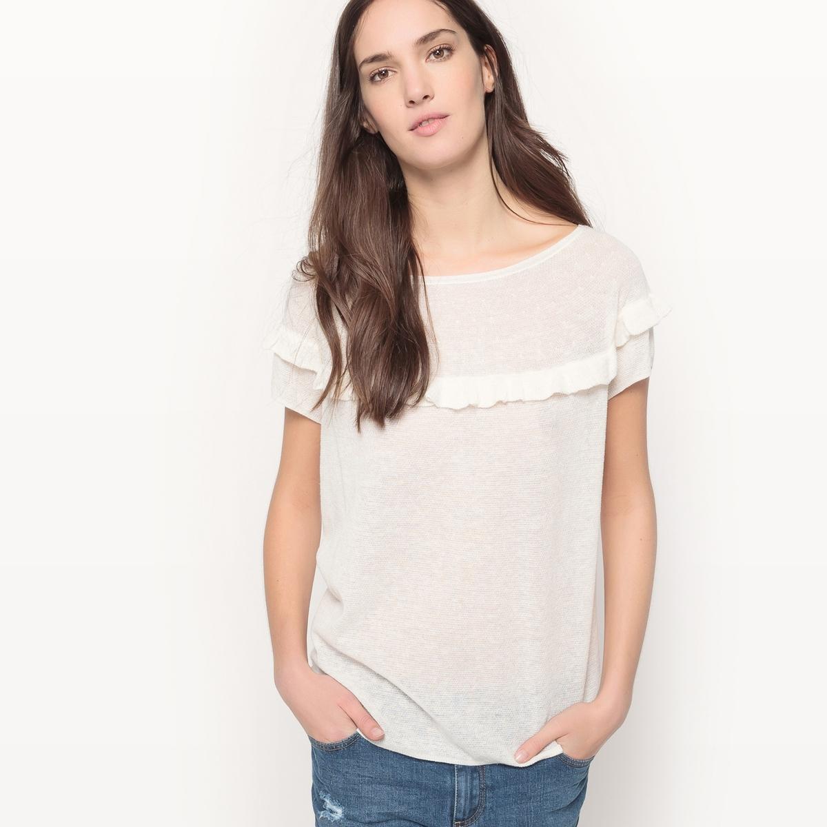 цены Пуловер кружевной вязки с воланами и короткими рукавами