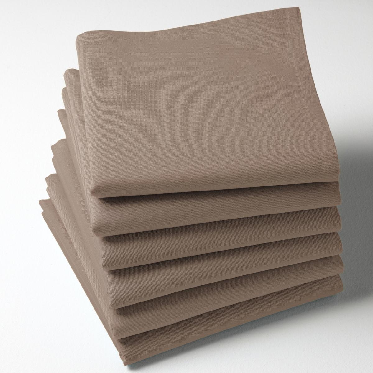 6 салфетокКачество Valeur S?re. Однотонные салфетки из саржи, 100% хлопка. 45 х 45 см. Мягкий и прочный материал. Легко гладить. Стирка при 40°.<br><br>Цвет: белый,желтый,красный,розовая пудра,розовый малиновый,светло-серый,серо-коричневый каштан,Серо-синий,серый,сливовый,экрю<br>Размер: 45 x 45  см