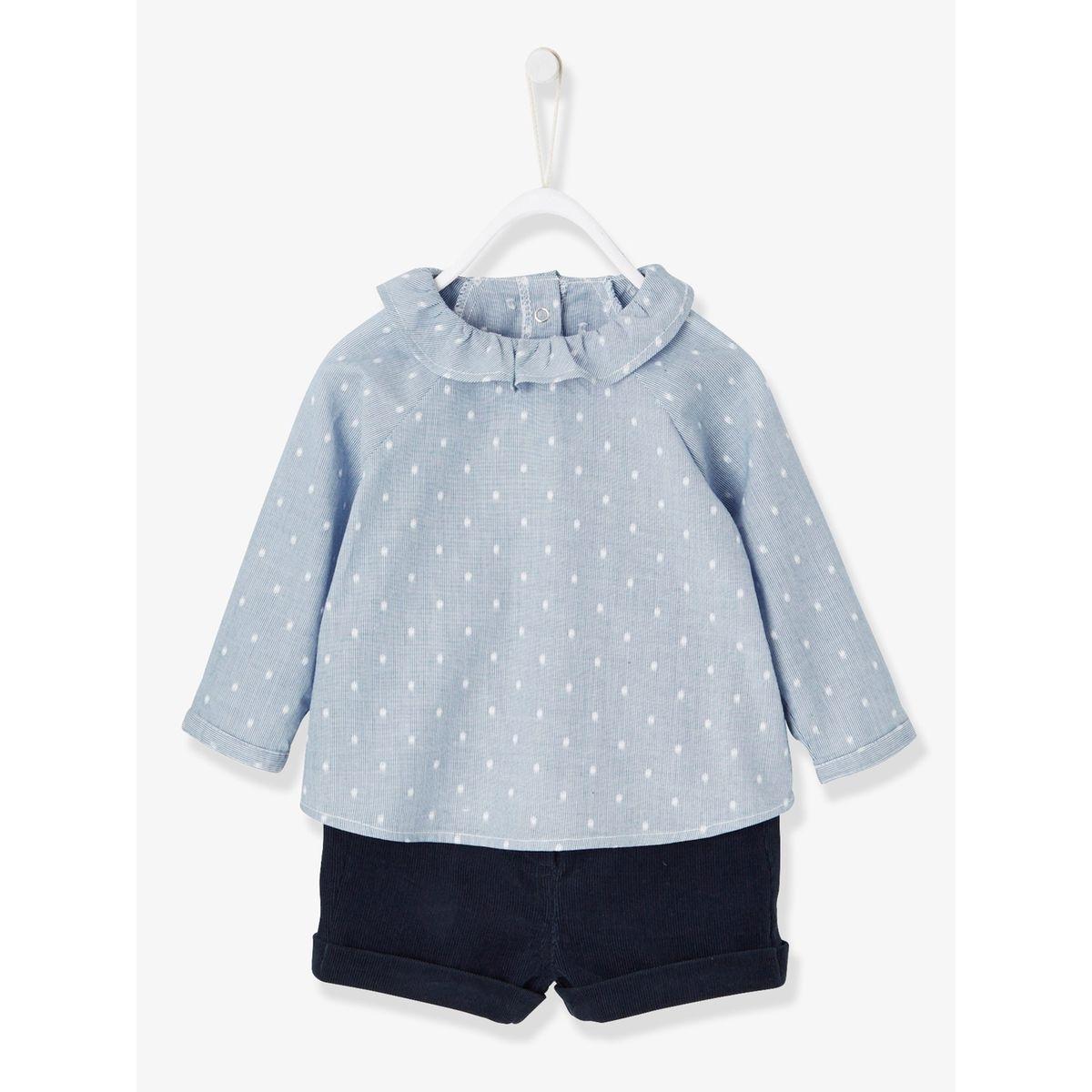 19. Ensemble blouse rayée et short velours bébé fille 3 mois 362c680b792