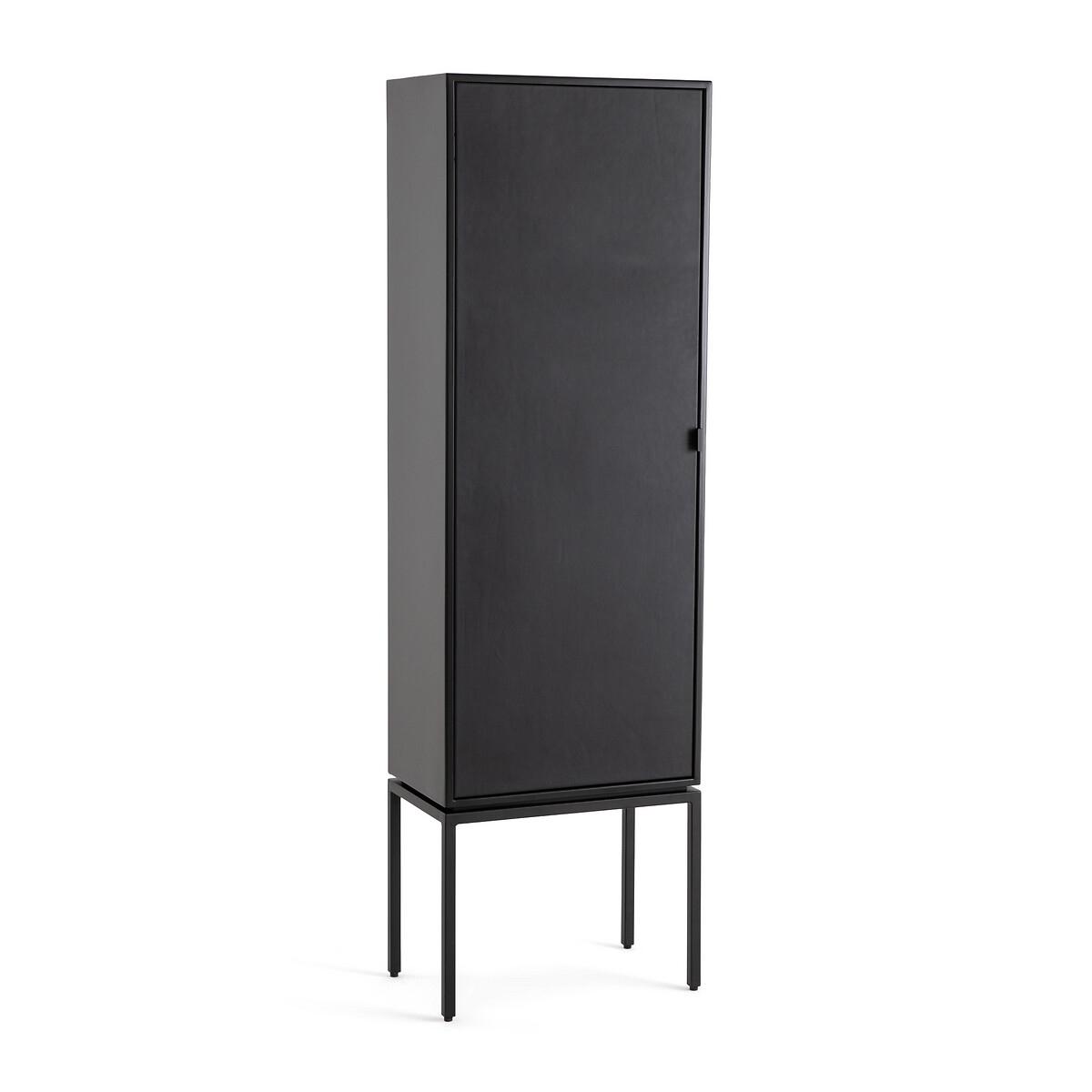 Шкаф LaRedoute Из металла и кожи с 1 дверкой Ralto единый размер черный