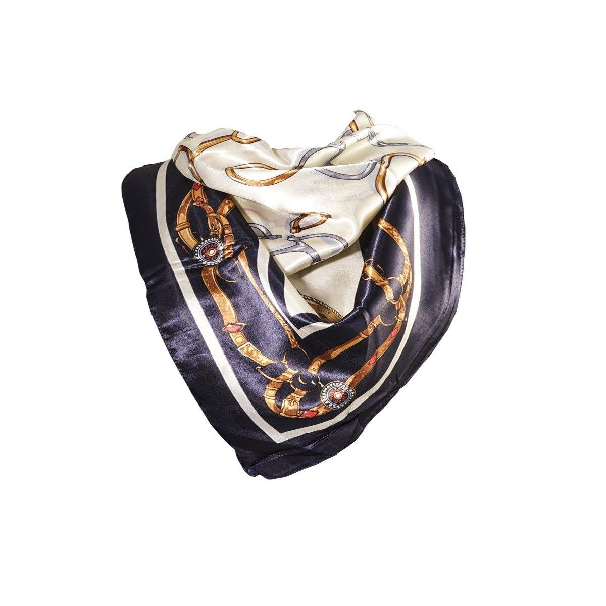 Foulard motif Beige avec sa pochette cadeau