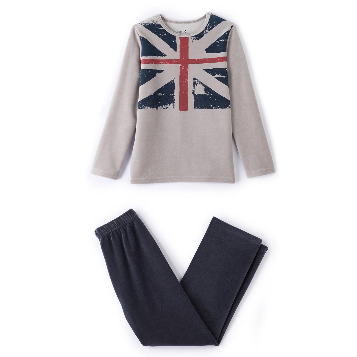 Пижама из велюра с принтом ''флаг'' 2-12 лет