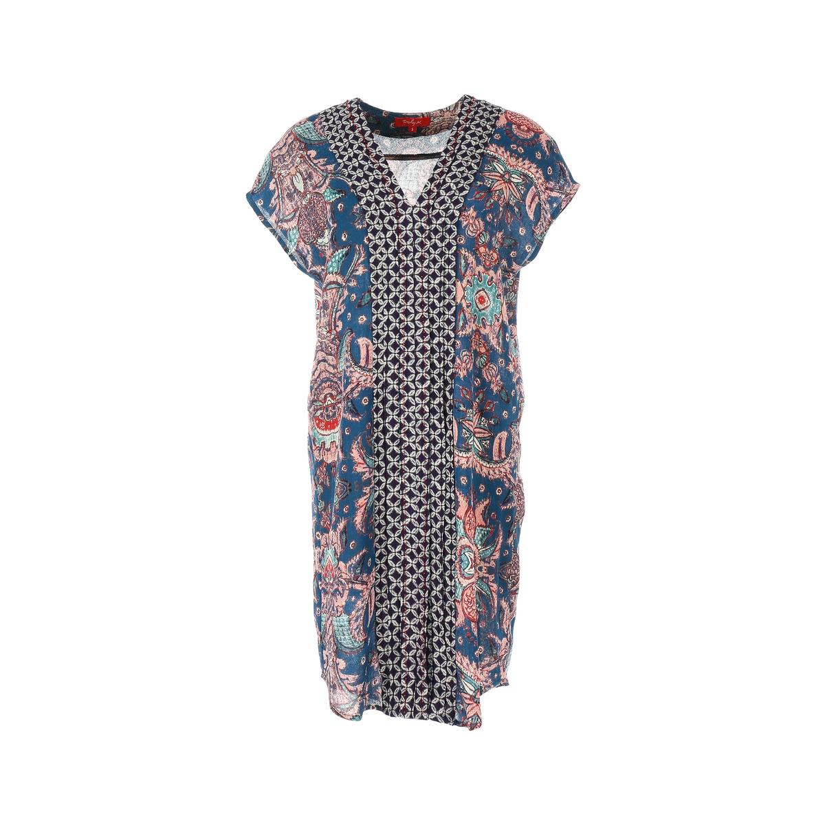 Платье короткое с короткими рукавамиДетали •  Форма : прямая   •  короткое   •  Короткие рукава    •   V-образный вырез •  Рисунок-принтСостав и уход •  100% вискоза   •  Следуйте советам по уходу, указанным на этикетке<br><br>Цвет: наб. рисунок синий<br>Размер: S