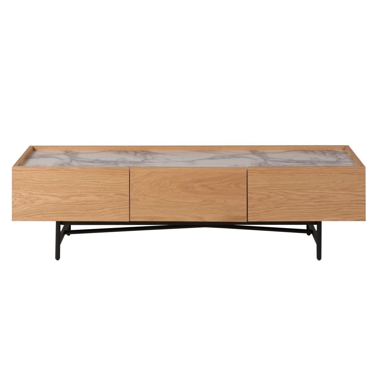 Meuble Tv en chêne plaqué et décor marbre 160 cm Carare