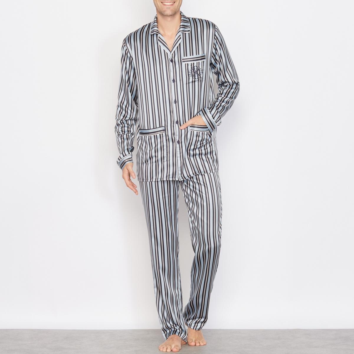 Пижама из атласа в полоску, с длинными рукавами