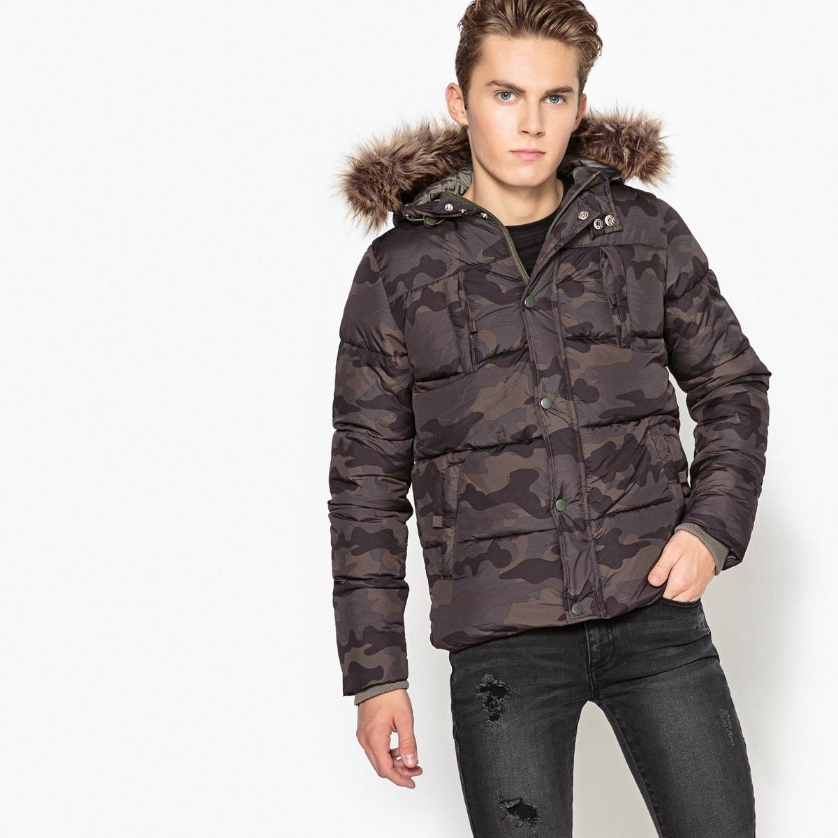 Куртка с капюшоном, 10 - 16 летОписание:Детали •  Рисунок-принт •  Зимняя модель •  Непромокаемая •  Застежка на молнию •  С капюшоном  •  Длина : укороченная  Состав и уход •  100% полиэстер  •  Подкладка : 100% полиэстер •  Наполнитель : 100% полиэстер •  Температура стирки 30°   •  Не гладить/ не отбеливать  •  Не использовать барабанную сушку • Сухая чистка запрещена<br><br>Цвет: камуфляж<br>Размер: 10 лет - 138 см.16 лет - 174 см.12 лет -150 см