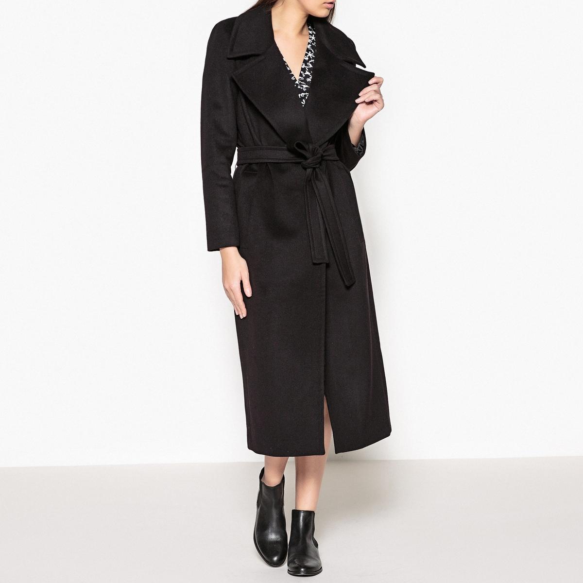 Пальто с большиим воротником и поясом CARMEN пальто двухцветное с поясом 70% шерсти