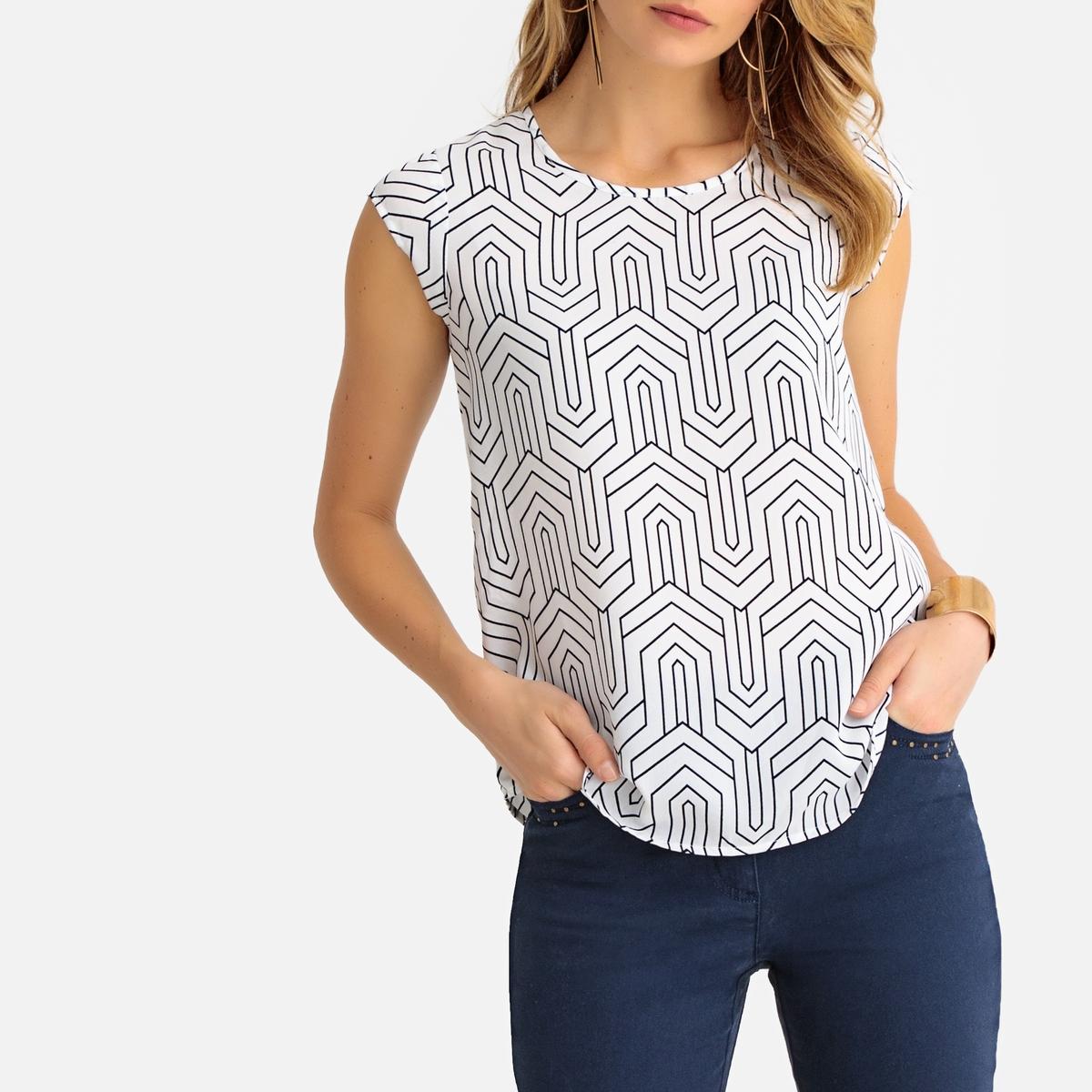 Блузка с круглым вырезом, короткими рукавами  рисунком