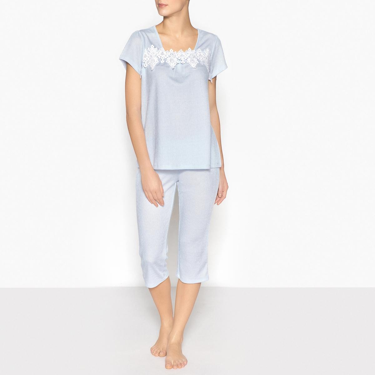 Pijama con pantalón pesquero y macramé