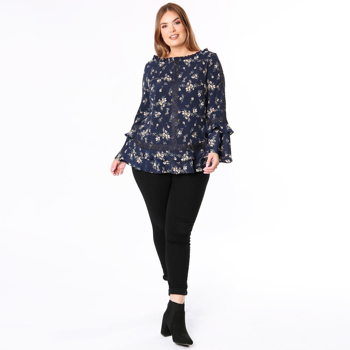 Блузка с круглым вырезом, цветочным рисунком  расклешёнными рукавами