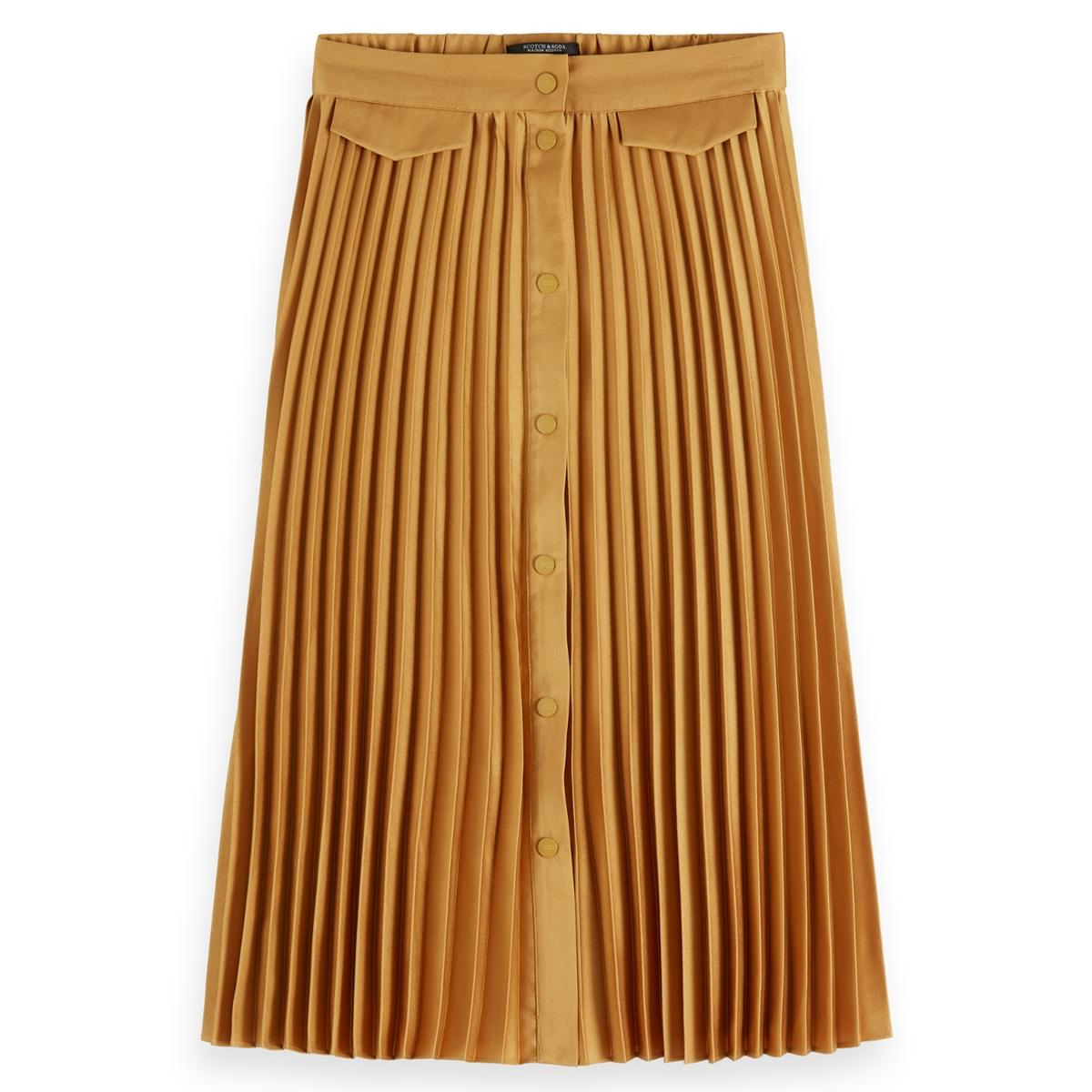 Юбка-миди La Redoute На пуговицах с плиссировкой M желтый юбка с запахом на пуговицах